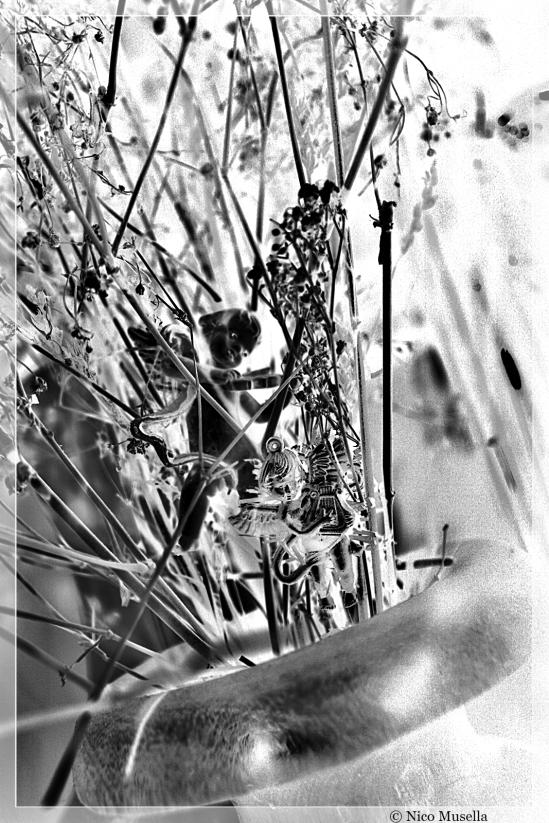 angelo e fiori di vetro
